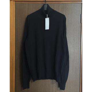 マルタンマルジェラ(Maison Martin Margiela)の黒L新品 メゾン マルジェラ エルボーパッチ タートルネック ニット ブラック(ニット/セーター)