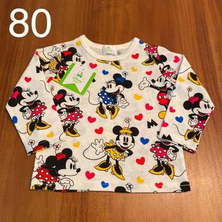 Disney - 新品 ディズニー 長袖 ミッキー ミニー ロンT カットソー 80cm 赤ちゃん