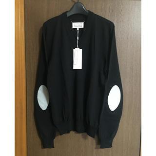マルタンマルジェラ(Maison Martin Margiela)の黒L新品 メゾン マルジェラ エルボーパッチ V ニット セーター ブラック(ニット/セーター)