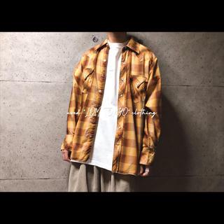 古着 暖色 イエローブラウン チェック柄 ウエスタンシャツ レトロシャツ メンズ(シャツ)