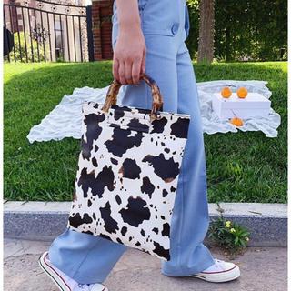 リリーブラウン(Lily Brown)のカウデザイン バッグ ハンドバッグ レディース バンブー 秋 アニマル柄 (ハンドバッグ)