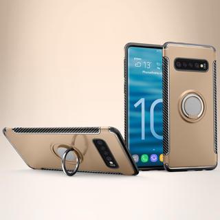 ギャラクシー(Galaxy)のGalaxyS10 かっこいい リング付き 軽量耐衝撃ケース ゴールド 金(Androidケース)