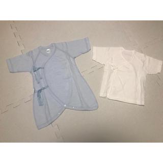 コンビミニ(Combi mini)の【新品未使用】combimini 新生児 短肌着、長肌着 50-60cm ブルー(肌着/下着)