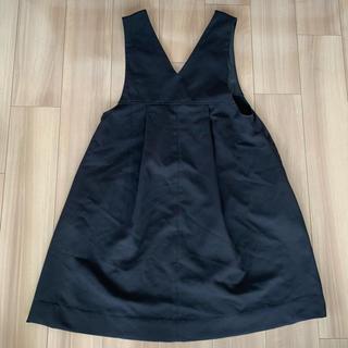 ハコ(haco!)のTシャツにもニットにもずーーっと着られて便利なジャンパースカート <ブラック>(ひざ丈ワンピース)
