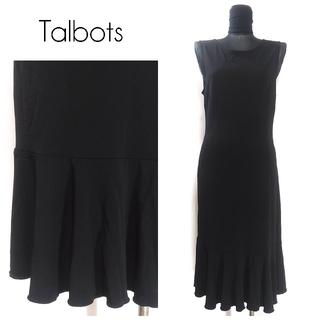 タルボット(TALBOTS)のTalbots タルボット ストレッチ ロングワンピース L程度 黒 レディース(ロングワンピース/マキシワンピース)