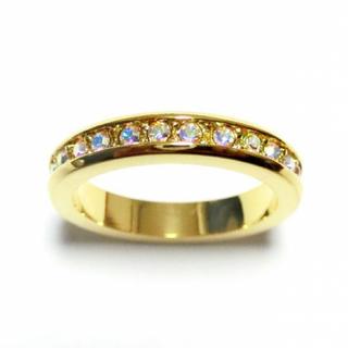 17号 フルエタニティ スワロフスキークリスタル オーロラクリア ゴールドリング(リング(指輪))