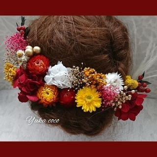 ドライフラワー ヘッドドレス 髪飾り❁︎成人式 結婚式 前撮り 振袖 色打掛 袴(ヘッドドレス/ドレス)