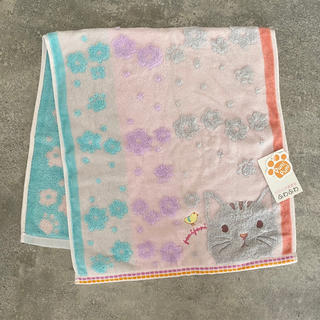【新品未使用】 猫 フェイスタオル タオル ふわふわ猫(タオル/バス用品)
