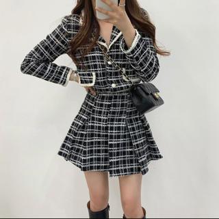 dholic - 【予約商品】ツイード Aライン セットアップ 韓国ファッション 秋服
