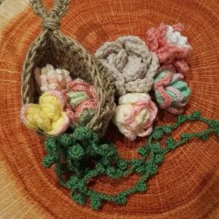 多肉植物 あみぐるみ セット 編み物 毛糸 雑貨 壁掛け ハンギング インテリア(その他)