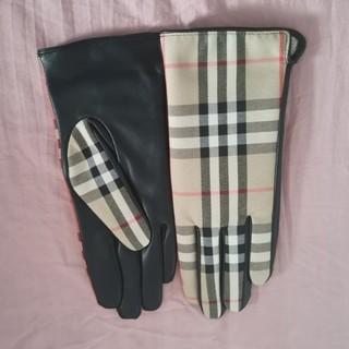 バーバリー(BURBERRY)のBURBERRY チェック コットン カシミア グローブ(手袋)