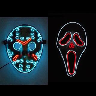 新品 ハロウィンマスク   LED光る仮面 ジェイソン仮面 絶叫スクリームマスク(小道具)