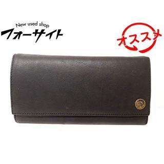 ディーゼル(DIESEL)のディーゼル 財布 ■ ブラック レザー ロゴ ボタン 2つ折り 長財布 (長財布)