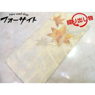 名古屋帯 ■ アイボリー系 紅葉 花柄刺繍 女性 和装 着物 仕立て済み □2I(帯)