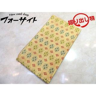 袋帯 ■ 総柄 金糸 赤緑青 花柄刺繍 女性 和装 着物 仕立て済み □2I(帯)