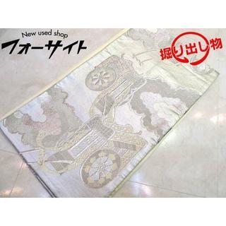 袋帯 ■ シルバーカラー 銀糸 人力車 デザイン 刺繍 女性 和装 着物(帯)