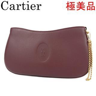 カルティエ(Cartier)のカルティエ 極美品 マストライン 2C ダブルC レザー ポーチ 小物入れ(ポーチ)