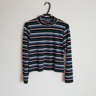 エイチアンドエム(H&M)のラメハイネックボーダーTシャツ(Tシャツ(長袖/七分))