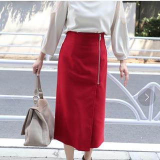 ノーブル(Noble)のPE/RY/W ジップタイトスカート◆美品(ひざ丈スカート)
