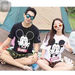 ミッキーキャラクターペアルックTシャツ レディースのトップス(Tシャツ(半袖/袖なし