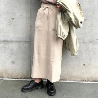 カスタネ(Kastane)の【Kastane】サーマルスカート・ベージュ(ひざ丈スカート)