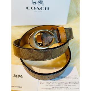 コーチ(COACH)の【COACH】コーチ人気レザーベルトシグネチャーブラウンx黄色カーキー新品正規品(ベルト)