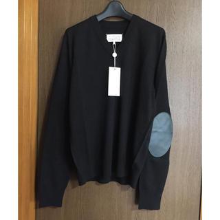 マルタンマルジェラ(Maison Martin Margiela)の黒M新品 メゾン マルジェラ エルボーパッチ V ニット リネン ブラック(ニット/セーター)