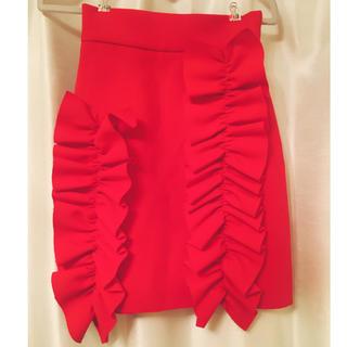 エムエスジイエム(MSGM)の美品 MSGM フリルスカート チェリー(ひざ丈スカート)