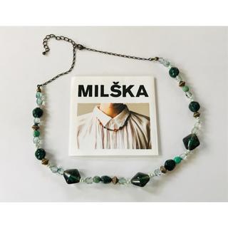 フェリシモ(FELISSIMO)のチェコガラス ネックレス グリーン【MILSKA】(ネックレス)