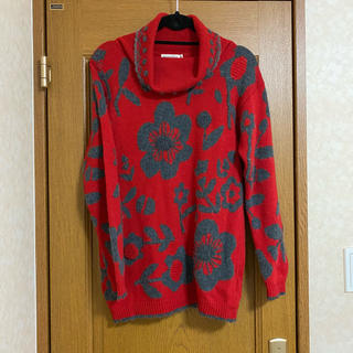 vintage flower design  knit    タートルネック(ニット/セーター)