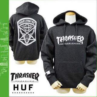 THRASHER - THRASHER×HUF パーカー