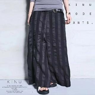 アンティカ(antiqua)のアンティカ ストライプ柄 スカート見え カフェパンツ ワイドパンツ(その他)
