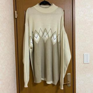 vintage  over size argyle knit     アーガイル(ニット/セーター)