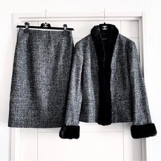 LANVIN COLLECTION - 新品同様‼️ランバンコレクション ミンク付き シルク混セットアップ スーツ