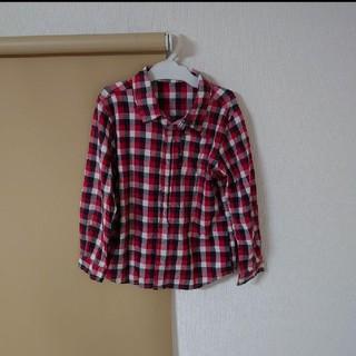 チェックシャツ ブラウス 赤 男の子 130(Tシャツ/カットソー)