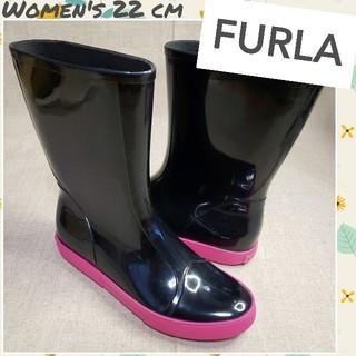 フルラ(Furla)の♡FURLA♡美品 イタリア製 レインブーツ ブラック×ピンク 22cm相当(レインブーツ/長靴)