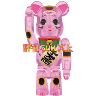 BE@RBRICK 招き猫 桃色透明 400%(キャラクターグッズ)