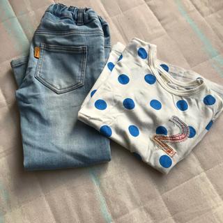キムラタン(キムラタン)のキムラタン ジーンズ110センチ、おまけTシャツ120センチ付き(パンツ/スパッツ)