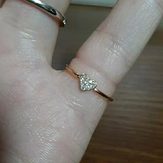 アーカー(AHKAH)の最終値下げ 美品 アーカー K18 YG ハート パヴェ リング ダイヤ(リング(指輪))