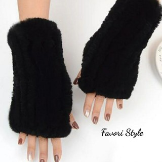 フォクシー(FOXEY)の高品質 レッキスラビットファー  アームカバー 手袋  black(手袋)
