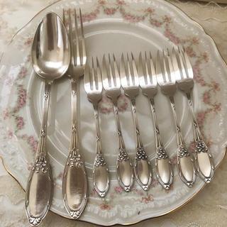 ロイヤルアルバート(ROYAL ALBERT)のw様専用  フランスビンテージ  ディナーフォークとスプーン 6本ケーキフォーク(カトラリー/箸)