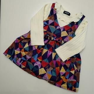 クレードスコープ(kladskap)の幾何学動物柄ワンピース×フリル衿Tシャツセット(ワンピース)