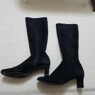 スクエア ロングブーツ 24.5 日本製(ブーツ)