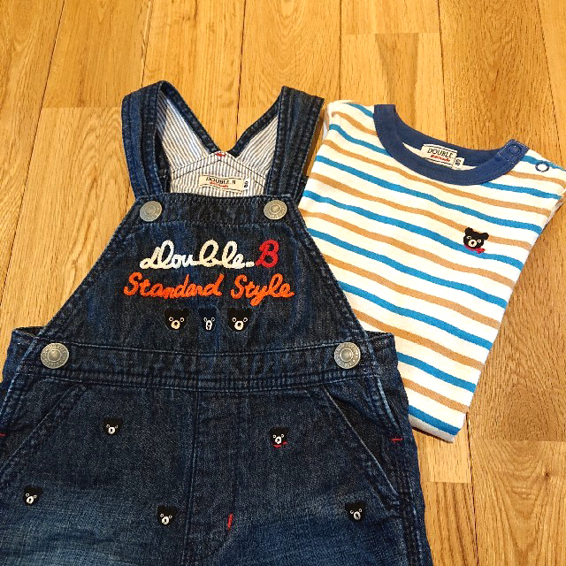 DOUBLE.B(ダブルビー)のMIKI HOUSE DOUBLE_B カバーオール&ロンTセット 80 キッズ/ベビー/マタニティのベビー服(~85cm)(Tシャツ)の商品写真