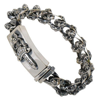クロムハーツ(Chrome Hearts)のIDダガーブレスレット シルバー 銀色 ジルコニア クロス ブレスレット(ブレスレット)