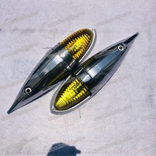 黄色 4個ナマズマーカー大 ガラスレンズ ナマズ ランプ デコトラ バスマーク (トラック・バス用品)