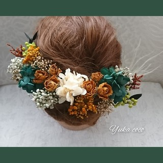 ドライフラワー ヘッドドレス 髪飾り❁︎成人式 結婚式 前撮り 色打掛 振袖 袴(ヘッドドレス/ドレス)