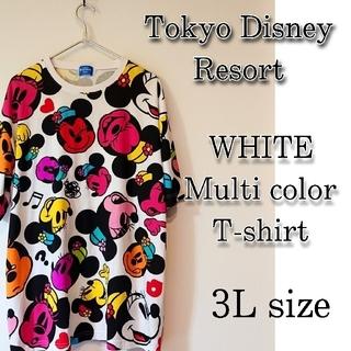 ディズニー(Disney)の☆東京ディズニーリゾート限定ミニーマウスフェイス柄Tシャツ3Lホワイト(Tシャツ(半袖/袖なし))