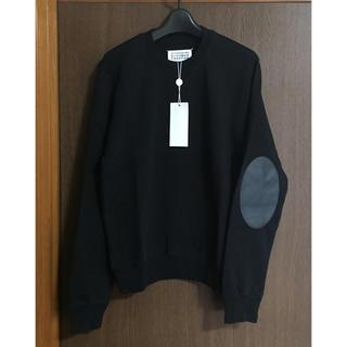 マルタンマルジェラ(Maison Martin Margiela)の黒46新品 メゾン マルジェラ エルボーパッチ スウェット ブラック 17AW(スウェット)
