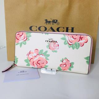 コーチ(COACH)の【新品未使用】COACH コーチ 長財布 ピンク 薔薇 ホワイト(財布)